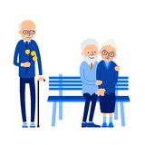 Betrayal. Old man with flowers came on date with his beloved. Hi. S woman sits on bench with another man. Illustration of people characters isolated on white vector illustration