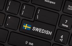 Betreten Sie Knopf mit Flagge Schweden - Konzept der Sprache Stockfotos