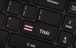 Betreten Sie Knopf mit Flagge Thailand - Konzept der Sprache Stockfotografie