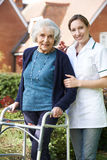 Betreuer, welche älterer Frau hilft, in Garten unter Verwendung des gehenden Rahmens zu gehen lizenzfreies stockbild