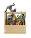 Betriebsbereite Hilfsmittel im Werkzeugkasten Stockfotografie