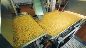 Betriebseinheit mit enormem Transporter und Chips, die entlang ihn sich bewegen Kartoffelchipfertigungsstraße stock video