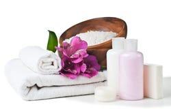 Betriebsmittel für Badekurort und Blumen Lizenzfreies Stockfoto