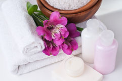 Betriebsmittel für Badekurort und Blumen Stockfotografie