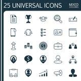 Betriebsmittel-Ikonen eingestellt Sammlung der Geldbörse, Team Structure, weibliches Pin And Other Elements Schließt auch Symbole Stockfotografie