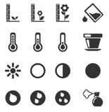 Betriebswachsende Zeichen-Schattenbild-Ikonen lizenzfreie abbildung