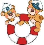 Betrifft netter Teddybär zwei Hilfe, Lebenfloss mit Seemannhüten zu speichern lizenzfreie abbildung