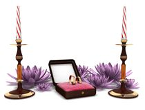 Betrothal. Ring lie on the pads in boxes, two gold rings Stock Photography