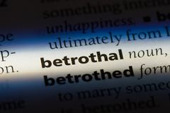 Betrothal. Word in a dictionary.  concept Stock Images