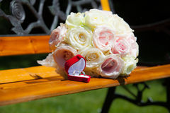 Betrothal detail. Of the rings and bouquet Royalty Free Stock Images