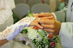 Betrothal wedding rings. Betrothal bride groom wedding rings Stock Photo