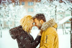 Betrothed couple in love looking at each other and smiling in th Royalty Free Stock Photo