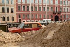 Betrouwbaar parkeren in Rus. Humeur. Royalty-vrije Stock Foto
