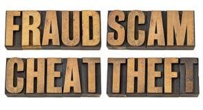 Betrug, Betrug, Überbrücker und Diebstahl stockfotografie