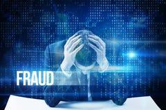Betrug gegen blaue Technologieschnittstelle mit binär Code Lizenzfreie Stockbilder
