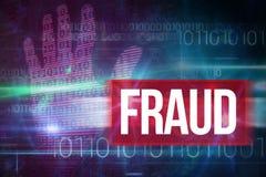 Betrug gegen blaues Technologiedesign mit binär Code Stockfotos