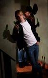 Betrunkene junge Männer Stockbilder