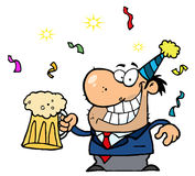 Betrunkene neue Jahre Mann- Stockfoto