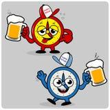 Betrunkene Uhren, die Bier dienen stock abbildung