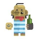 Betrunkener Alkoholiker mit Glanzschuß und einer Flasche stock abbildung