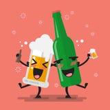 Betrunkener Bierglas- und -flaschencharakter Lizenzfreie Stockbilder