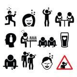Betrunkener Mann und Frau, trinkende Alkoholikonen der Leute eingestellt Lizenzfreie Stockbilder