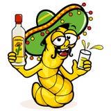 Betrunkener Tequilawurm Lizenzfreies Stockfoto