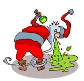 Betrunkener Weihnachtsmann, der oben wirft lizenzfreie abbildung