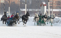 Bets are made. Winter horse racing began at the moscow hippodrome Royalty Free Stock Photos