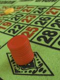Bets placed. Chips riding high on roulette table Stock Photo