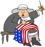 Betsy Ross. This illustration depicts American revolutionary era character Betsy Ross sewing a flag Stock Images