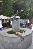 Betsy Ross Cats Statues in the House Courtyard from Philadelphia in Pennsylvania USA stock photo