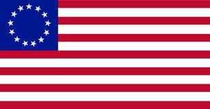 The Betsy Ross flag the United States of America. The Betsy Ross flag is an early design of the flag of the United States, popularly – but very likely Stock Photos