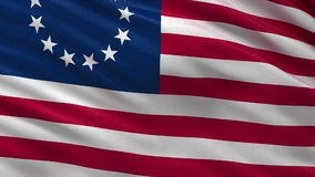 Betsy Ross flag - seamless loop. Betsy Ross flag gently waving in the wind. Loop ready file with high quality fabric material stock video footage