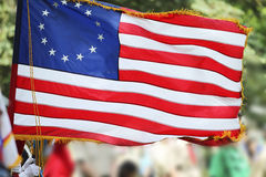 Betsy Ross Flag With Thirteen Stars and Stripes. This American flag, popularly attributed to Betsy Ross, was designed during the American Revolutionary War Stock Image