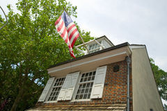 The Betsy Ross House on East Third Street, Philadelphia, Pennsylvania, where Betsy Ross created first American flag in 1777 Stock Photos