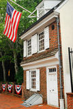 Betsy Ross House Museum, Philadelphia. The Betsy Ross House is the American Colonial Home where she, as legend states, sewed the first American flag stock photo
