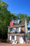 Betsy Ross House in Old Philadelphia Pennsylvania. The historic Betsy Ross house tourism landmark with hanging American flag in Old City Philadelphia in Royalty Free Stock Images