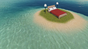 Bett auf der Insel lizenzfreie abbildung
