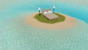 Bett auf der Insel stock abbildung