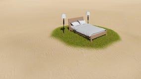 Bett auf der Insel Stockbilder
