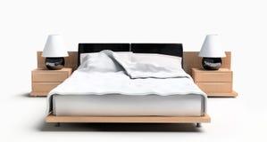 Bett auf einem weißen Hintergrund Lizenzfreies Stockbild