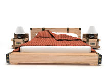 Bett auf einem weißen Hintergrund Stockbild