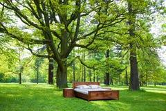 Bett in einem Wald stockfotos