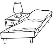 Bett und Kopfende Stockbild