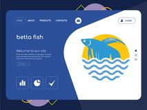 Betta fish Landing page website template design. Quality One Page betta fish Website Template Vector Eps, Modern Web Design with flat UI elements and landscape Royalty Free Stock Photography