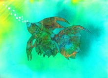 Fish. Vibrant Betta fish multiple media watercolor underwater with bubbles Royalty Free Stock Images