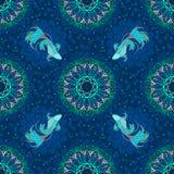 Betta splendens钓鱼或战斗的鱼设计与盐水湖概念和装饰与在幻想蓝色口气的坛场无缝的 库存照片