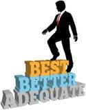 Better business man best self improvement. Business Person Climbs Up Better Best Improvement Steps royalty free illustration