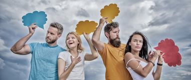 Better communication. Friends send messages on comic bubbles. People speak using speech bubbles. Communication occurs. Through speech balloons. Group royalty free stock images
